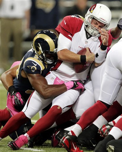Rams get 9 sacks, bust Cardinals' unbeaten run
