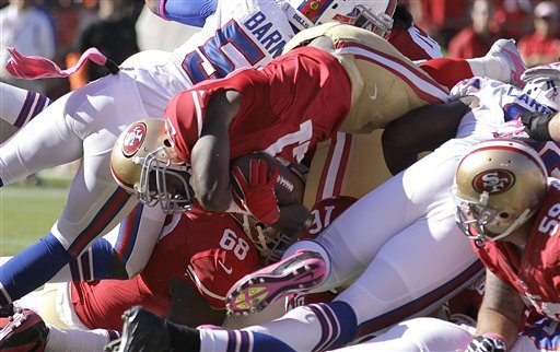Smith silences critics after 49ers rout Bills 45-3