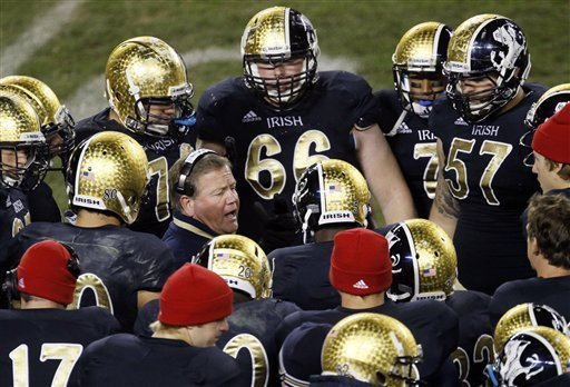 Brian Kelly has the Irish ranked fifth in the latest BCS standings. (AP)