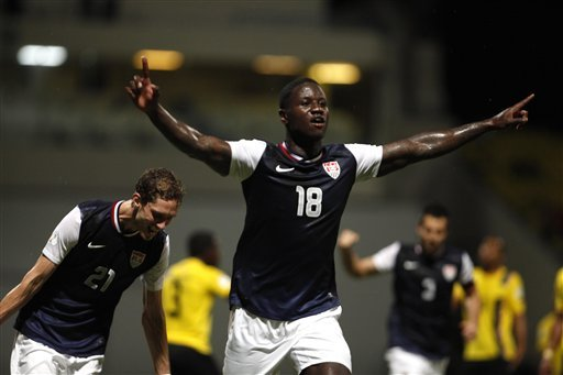 Eddie Johnson celebrates after scoring against Antigua and Barbuda. (AP)