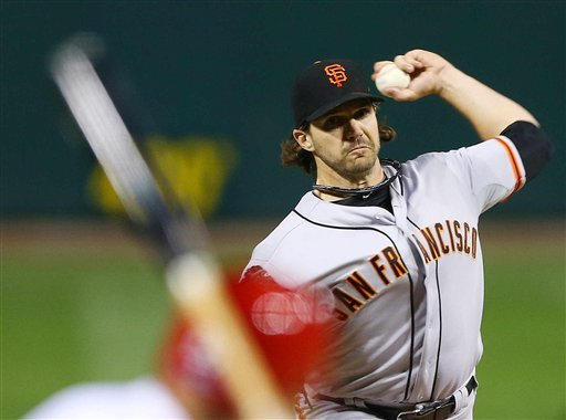 Barry Zito threw 7 2/3 scoreless innings in the Giants' NLCS Game 5 victory over the Cardinals. (AP)