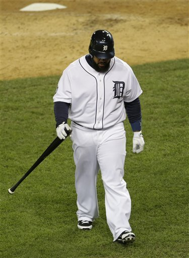 Prince Fielder walks back to the dugout after striking out. (AP photo)