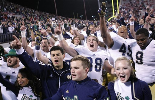 Notre Dame had reason to celebrate after beating Oklahoma 30-13. (AP)