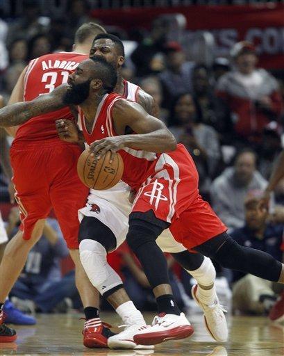 Harden has 45, Rockets beat Hawks 109-102