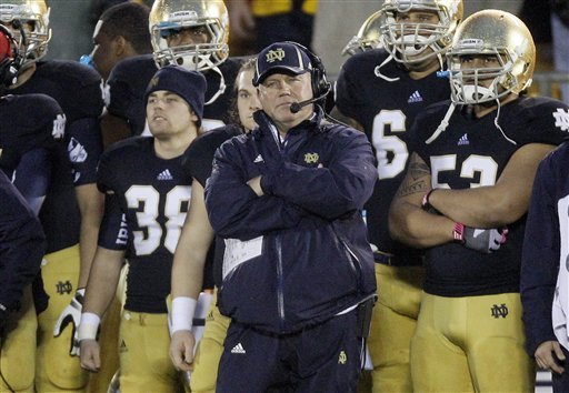 Brian Kelly and Notre Dame can reach the BCS title game with a victory over USC. (AP)