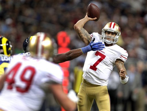 Colin Kaepernick during Sunday's game against the Rams. (AP)