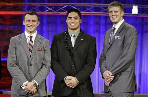 From left, Heisman candidates Johnny Manziel, Manti Te'o and Kansas State's Collin Klein. (AP)