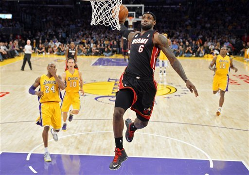 LeBron James dropped a season-high 39 points on the Lakers in Miami's victory on Thursday night. (AP)