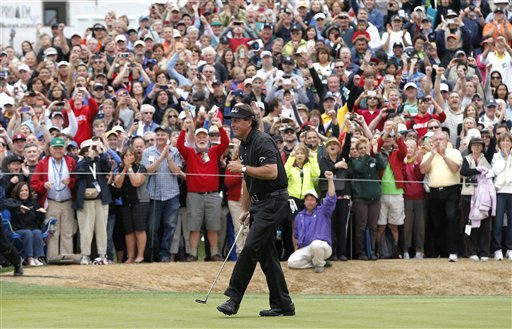 Phil Mickelson finished within two strokes of a PGA Tour scoring record. (AP)