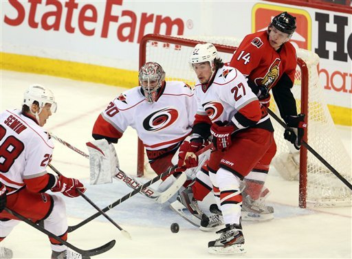 Ward, Harrison lift Hurricanes past Senators, 3-2