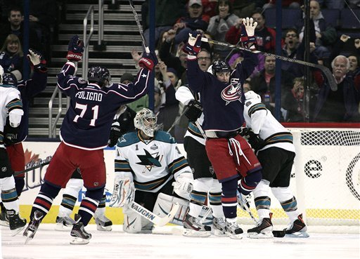 Blue Jackets go wild, wallop Sharks, 6-2