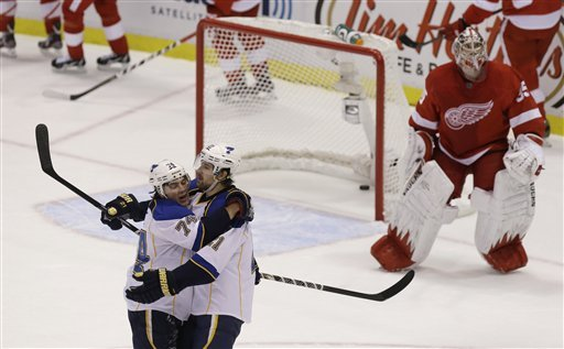 Steen scores in OT in Blues 4-3 win over Red Wings