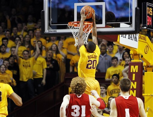 Hollins helps Minnesota top No. 20 Wisconsin 58-53