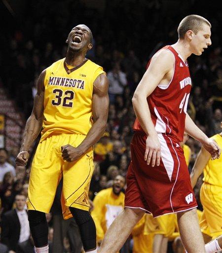 Hollins helps Minnesota top No. 20 Wisconsin 58-53