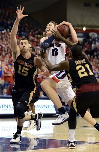 No. 3 Gonzaga pounds Santa Clara 85-42