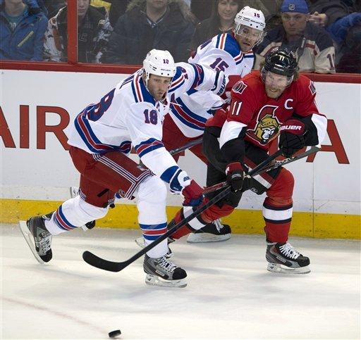 Senators top Rangers in shootout 3-2