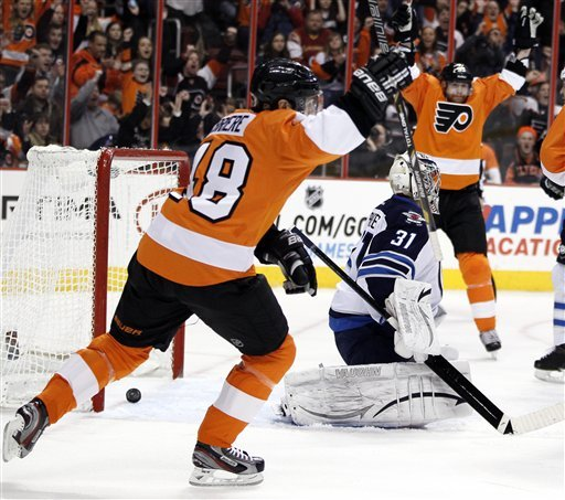 Simmonds goal sends Flyers to 5-3 win over Jets