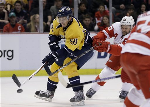 Red Wings beat Predators 4-0, ending 5-game skid