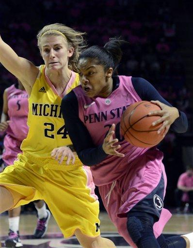 No. 7 Penn State women beat Michigan 68-57