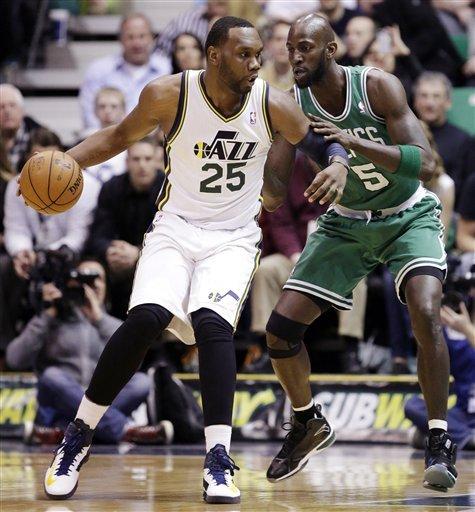 Pierce lifts road-weary Celtics over Jazz in OT