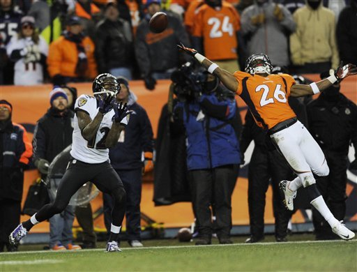 Jacoby Jones awaits a pass from Joe Flacco that resulted in a 70-yard TD against the Broncos. (AP)