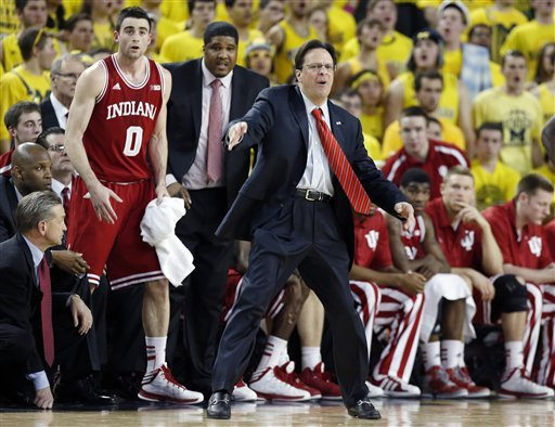 Tom Crean directs his team from the bench during the second half. (AP)