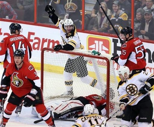Bruins defeat Senators 3-2 in a shootout