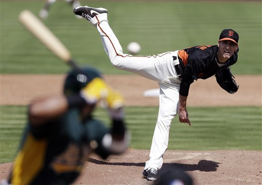 Cespedes homers as A's rough up Lincecum, Giants