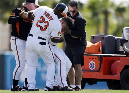 Betemit injured as Orioles defeat Red Sox 12-9