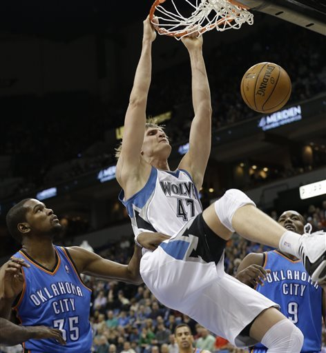 Pekovic powers Timberwolves over Thunder 101-93