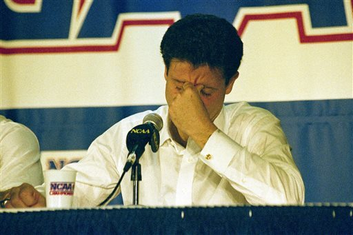 Rick Pitino reacts during the postgame news conference following the loss to Duke in 1992. (AP)