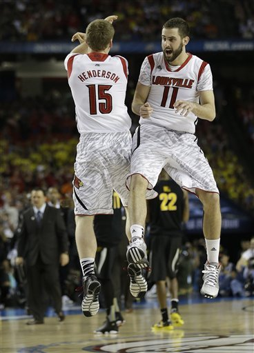 Luke Hancock (11) and Tim Henderson react to a play against Wichita State during the second half. (AP)