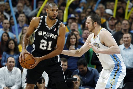 Denver beats Spurs 96-86 for 21st home win in row