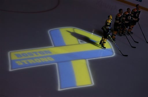 The Bruins hosted the first major sporting event in Boston since the bombings on Monday. (AP)