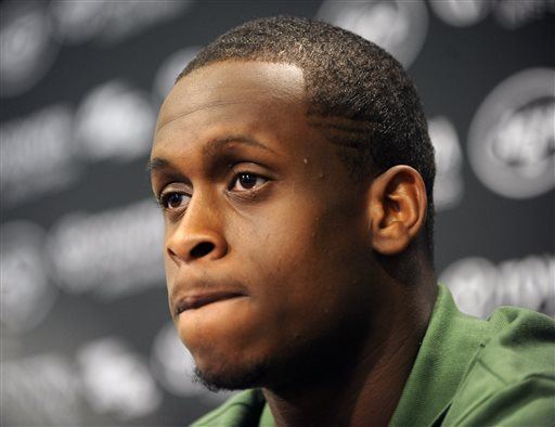 Geno Smith speaks during the Jets' introductory news conference Saturday. (AP)