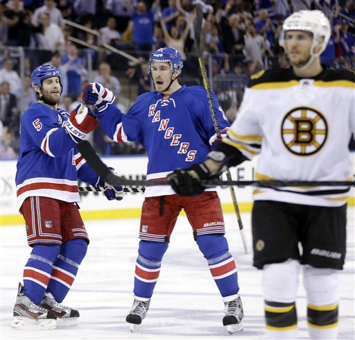 Bruins rally, push Rangers to brink of elimination