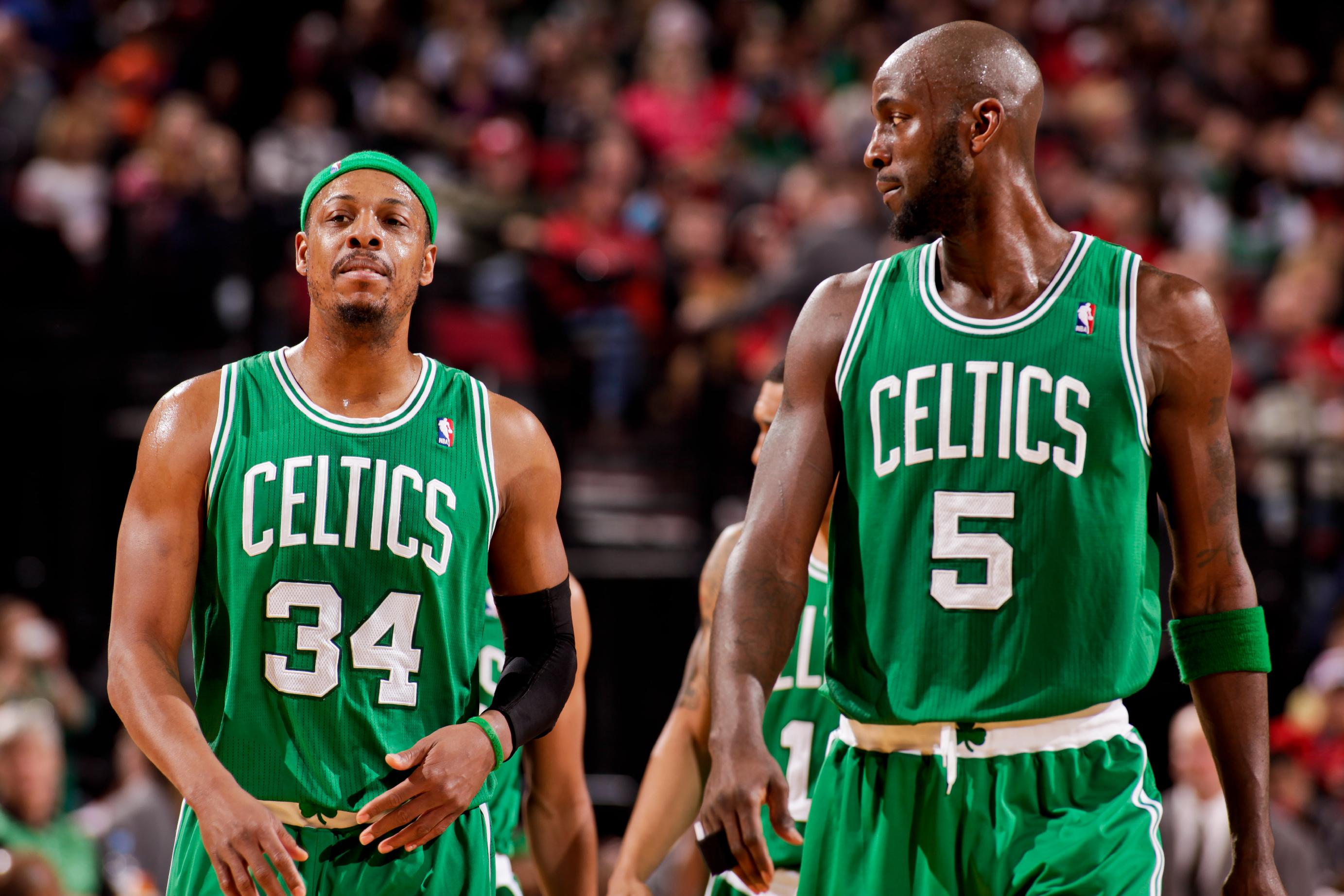 Paul Pierce and Kevin Garnett are headed to Brooklyn after a blockbuster trade. (NBAE/Getty Images)