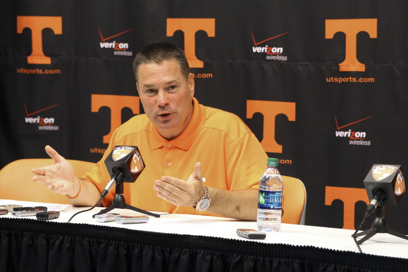 Butch Jones speaks during a news conference at Neyland Stadium. (AP)