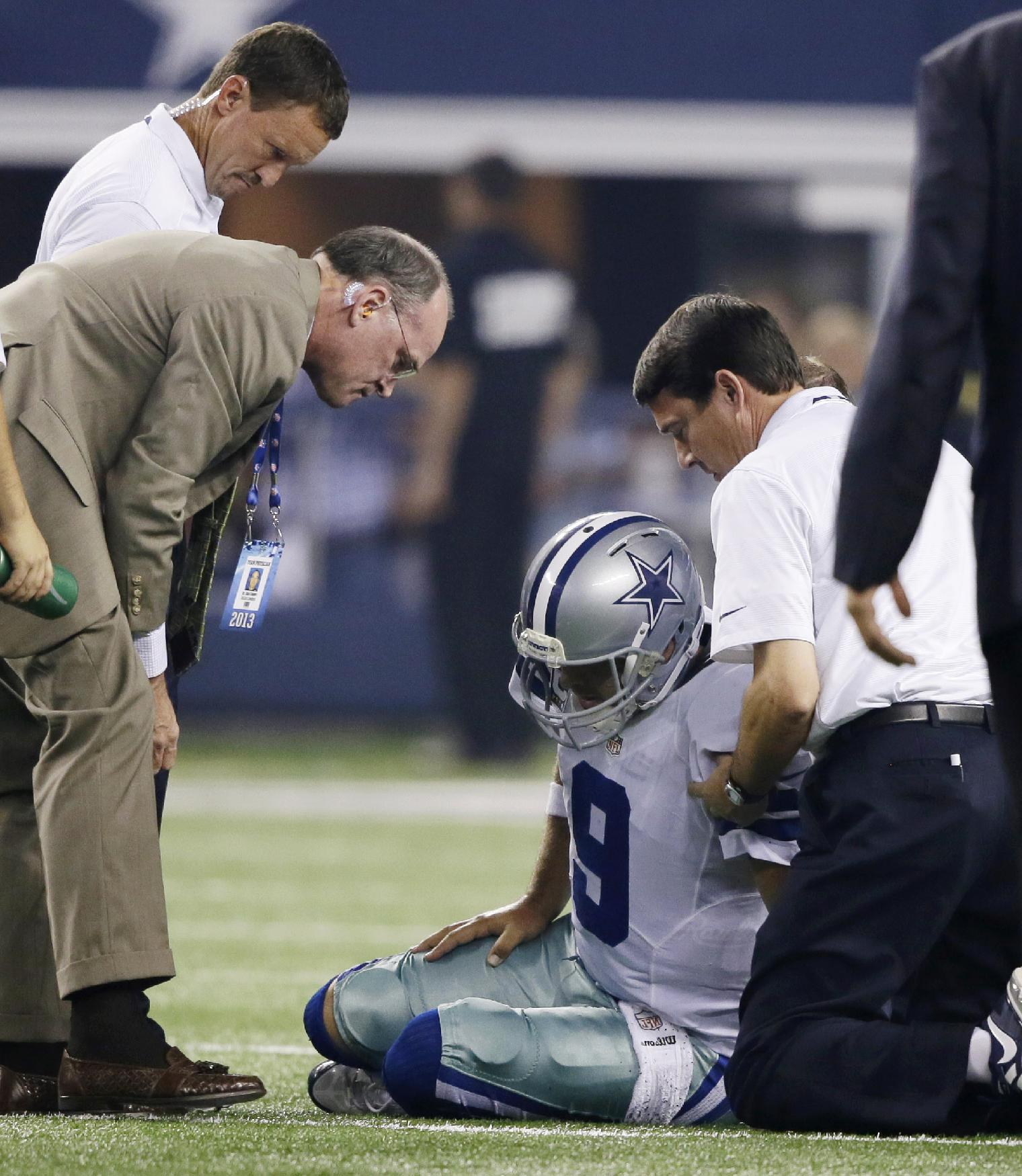 Tony Romo recovered from a hard lick he took from the Giants in the Cowboys' win on Sunday night. (AP)