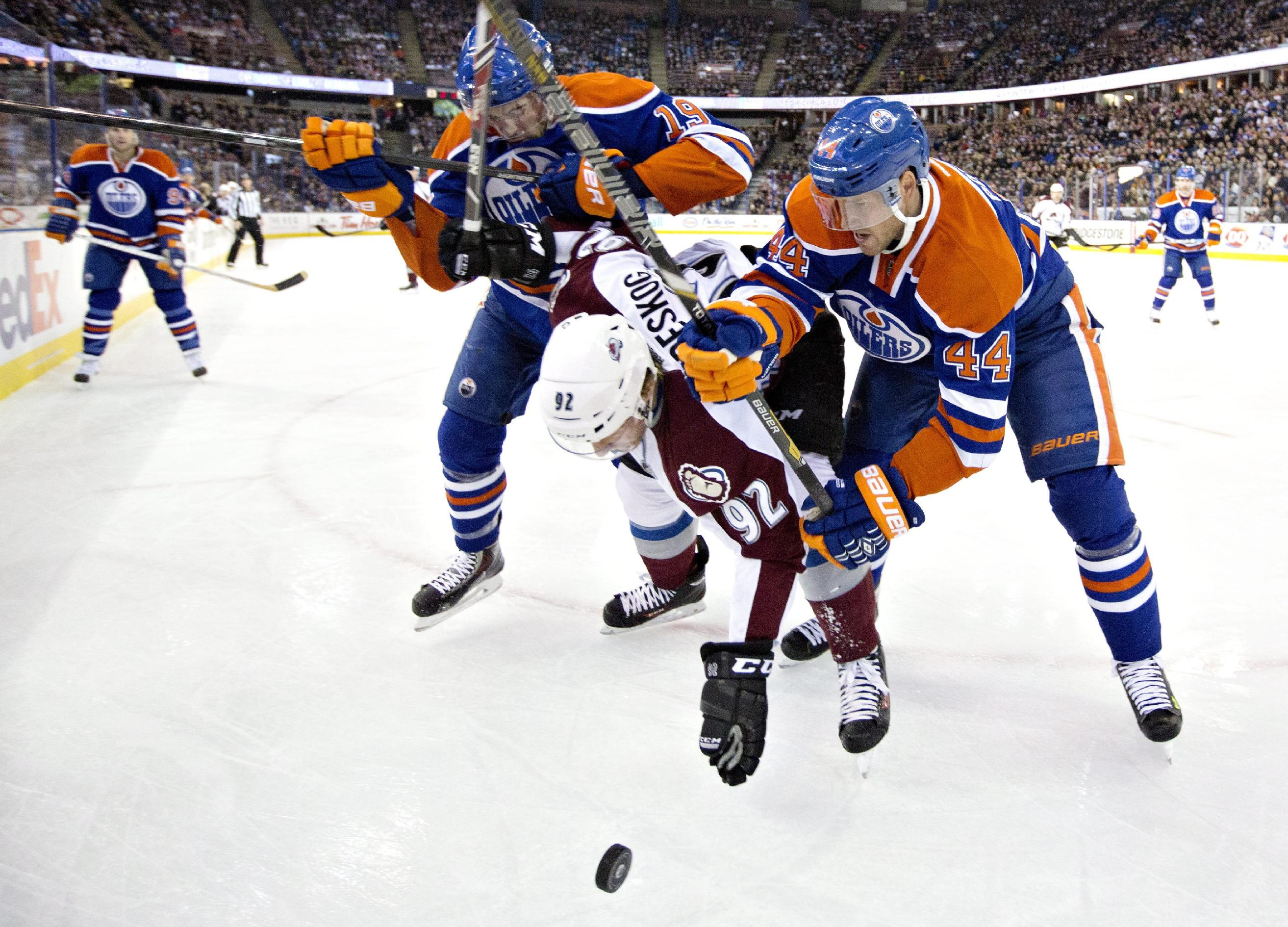Taylor Hall's hat trick leads Oilers over Avs 8-2