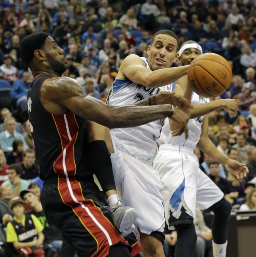 James' rebounding sparks Heat over Wolves