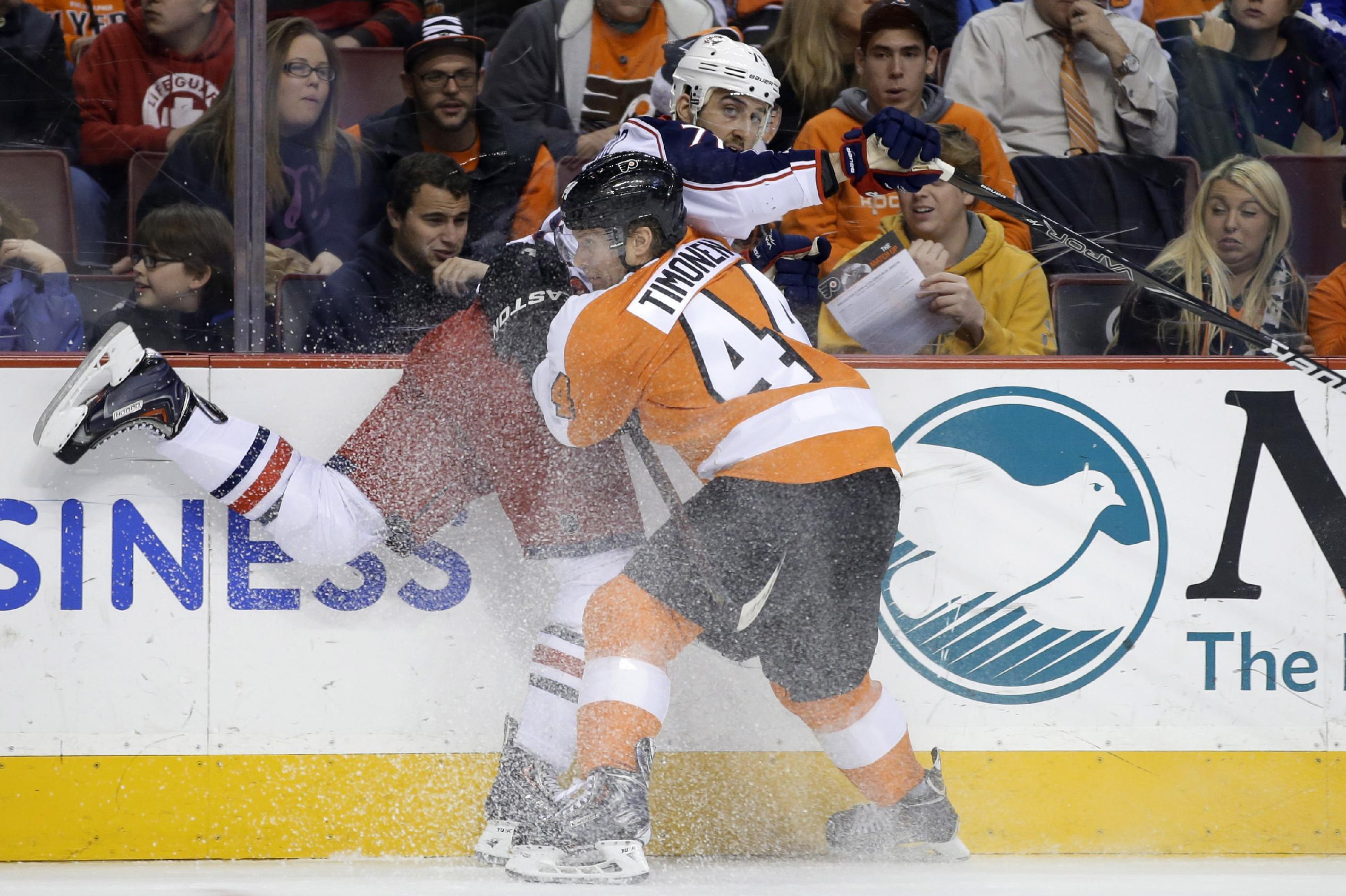 Giroux rallies Flyers past Columbus, 5-4