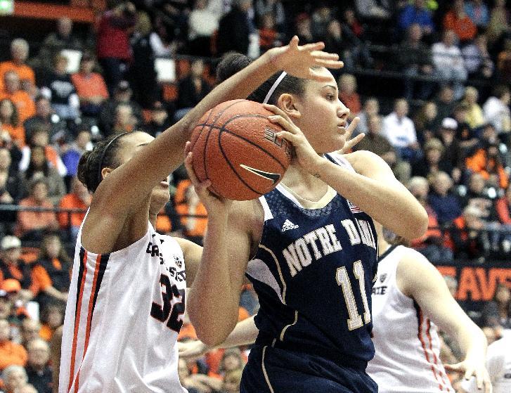 McBride, No. 2 Notre Dame women beat Oregon St