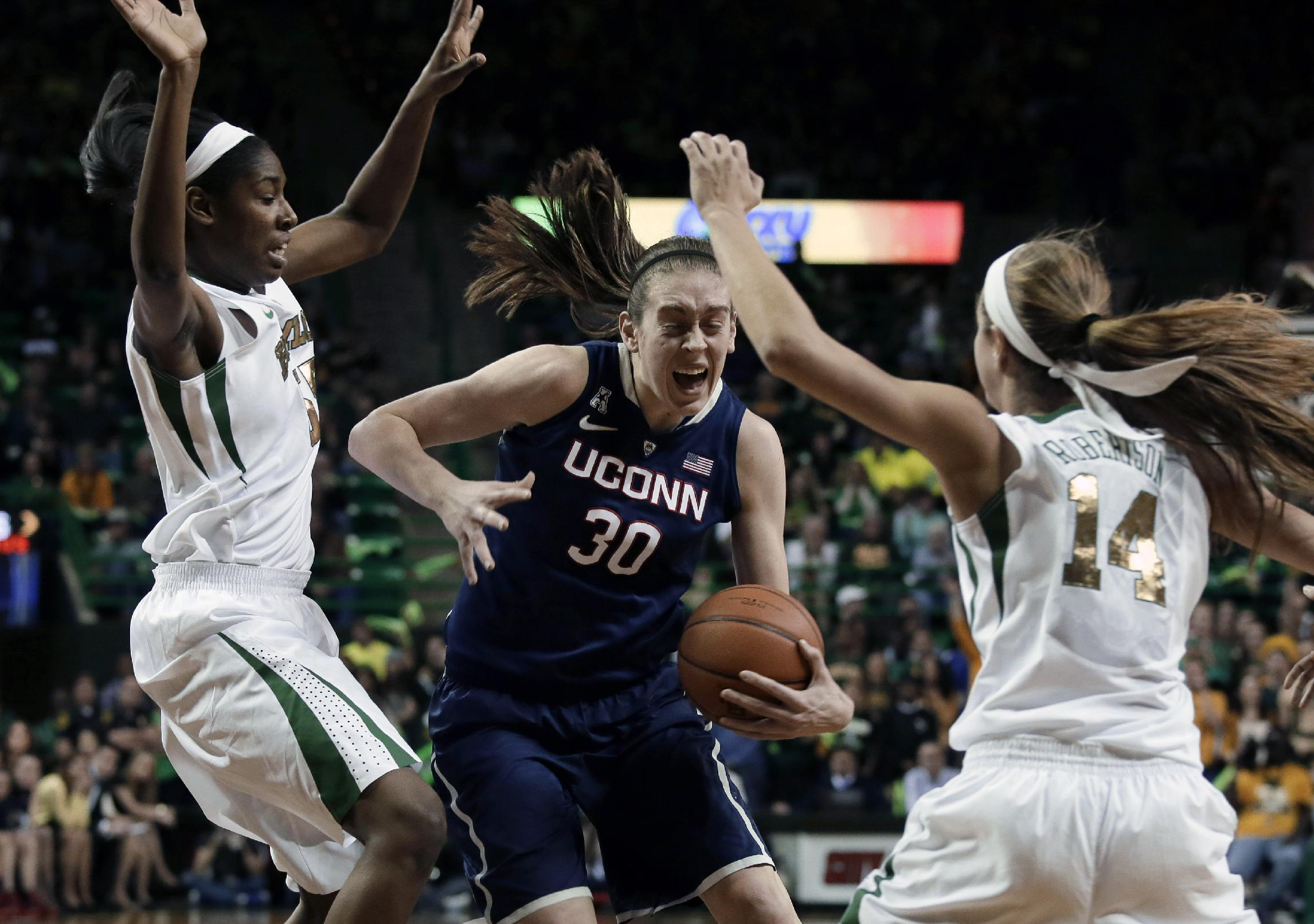 No. 1 UConn women end Baylor home streak, 66-55