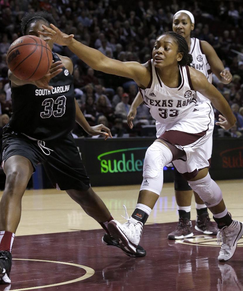 Texas A&M women edge South Carolina 67-65 in OT