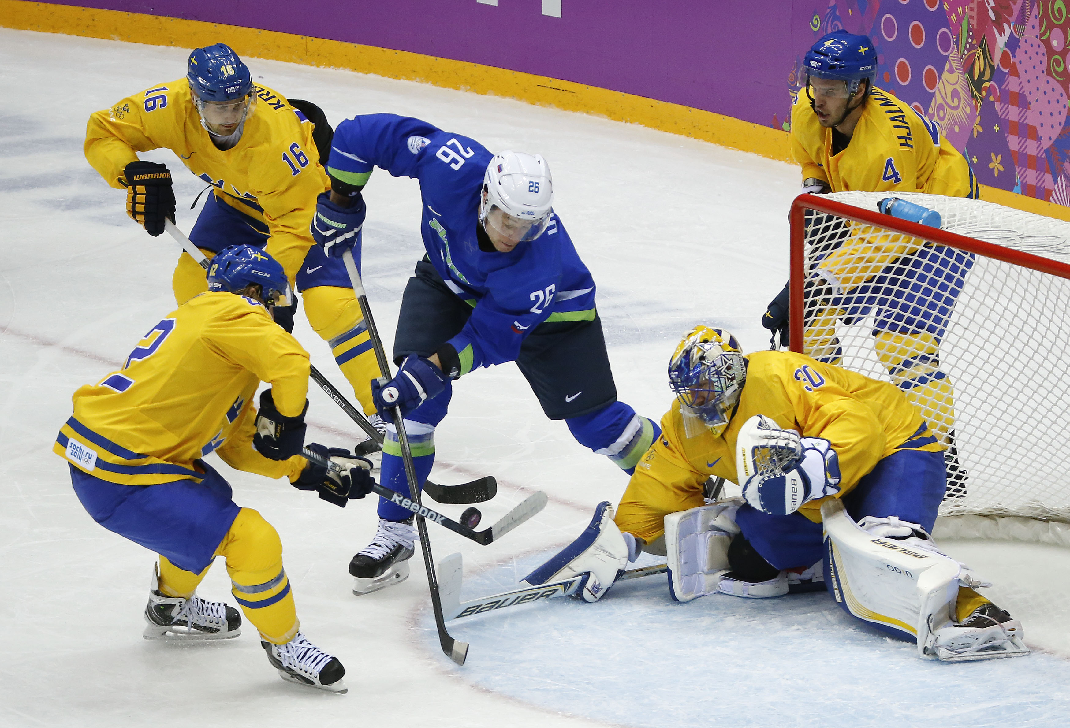 Sweden tops Slovenia 5-0, advances to hockey semis