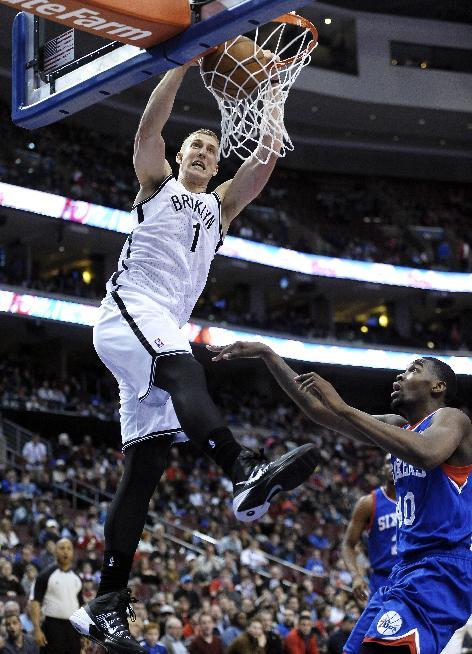 Garnett solid, lifts Brooklyn past 76ers 105-101