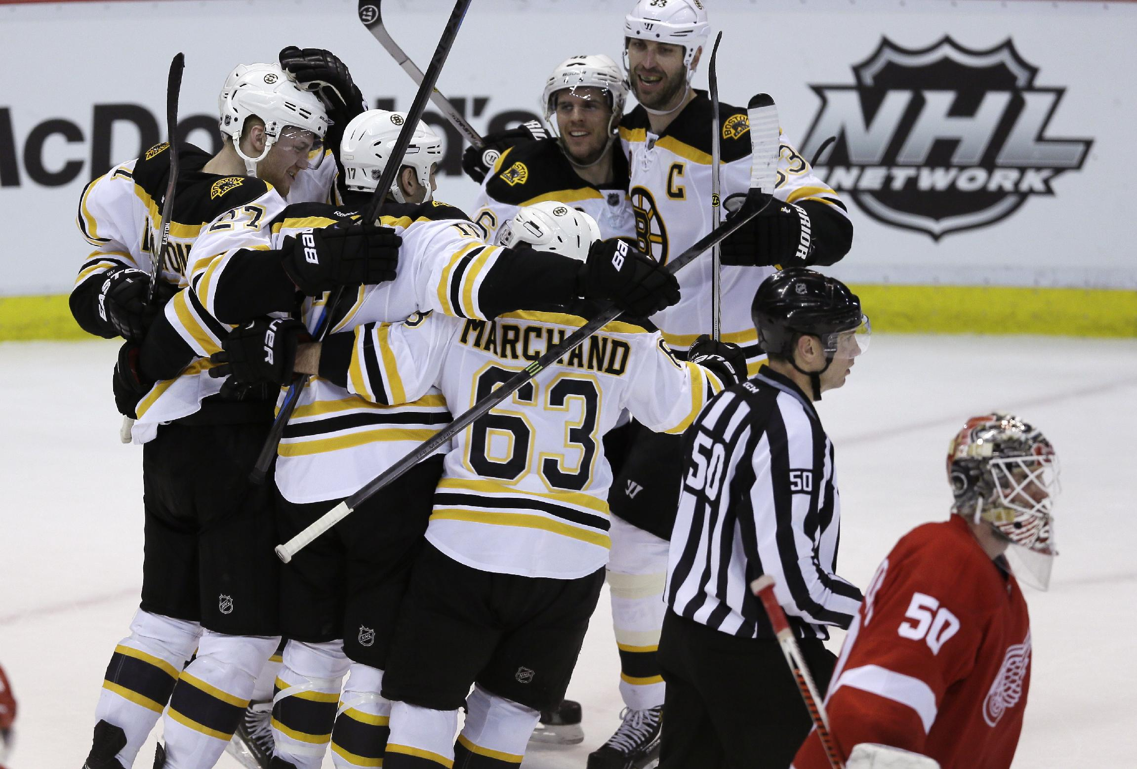 Bruins beat Red Wings 3-2 in OT, up 3-1 in series