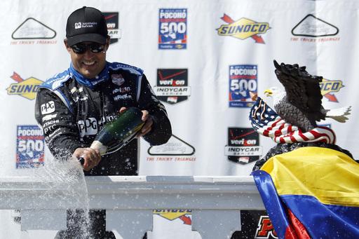 Montoya wins IndyCar race at Pocono Raceway