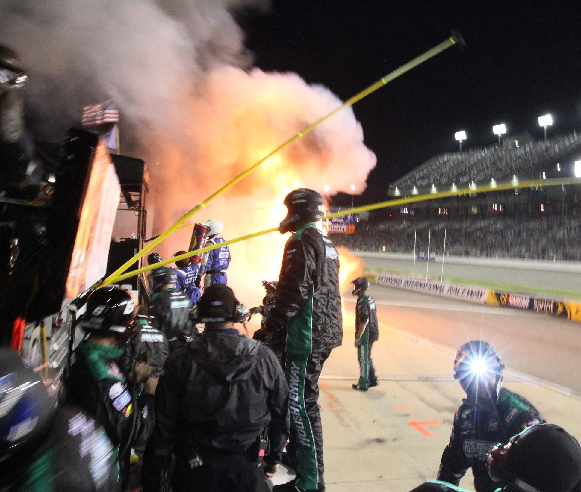 3 crew members injured in pit road fire at Richmond